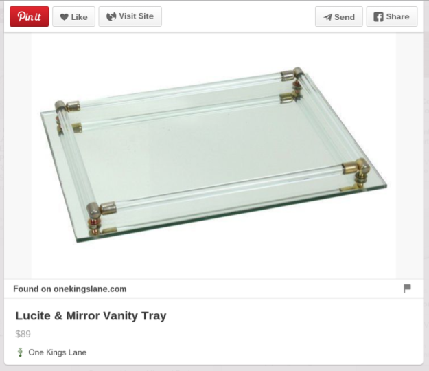 Before After Vintage 1970s Mirror Glass Vanity Tray